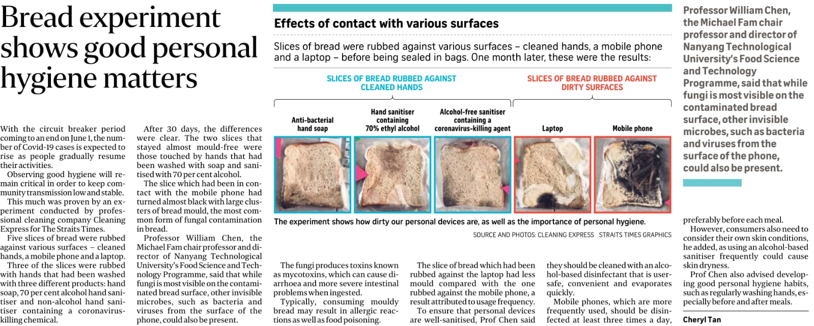 Bread Experiment Shows Good Personal Hygiene Matters - Published in Straits Times