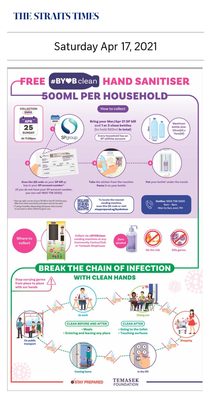 Free #BYOBclean Hand Sanitiser 500ml Per Household - Published in The Straits Times April 17, 2021