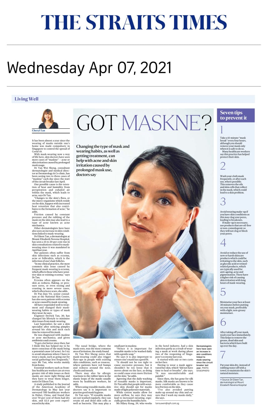 Got Maskne? - Published in The Straits Times April 7, 2021