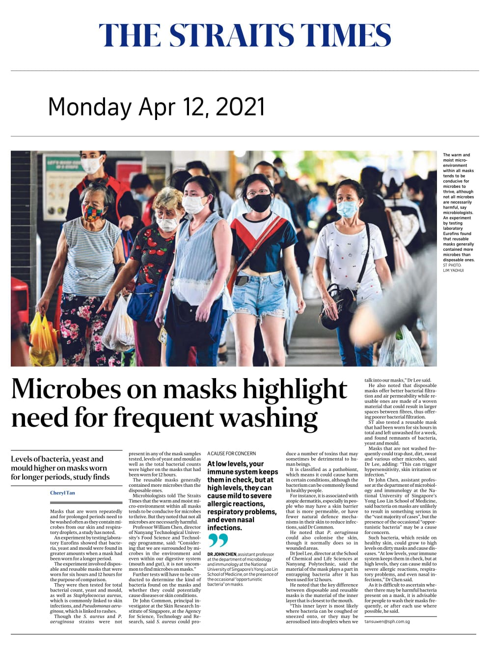 Microbes on masks highlight need for frequent washing - Published in The Straits Times April 12, 2021