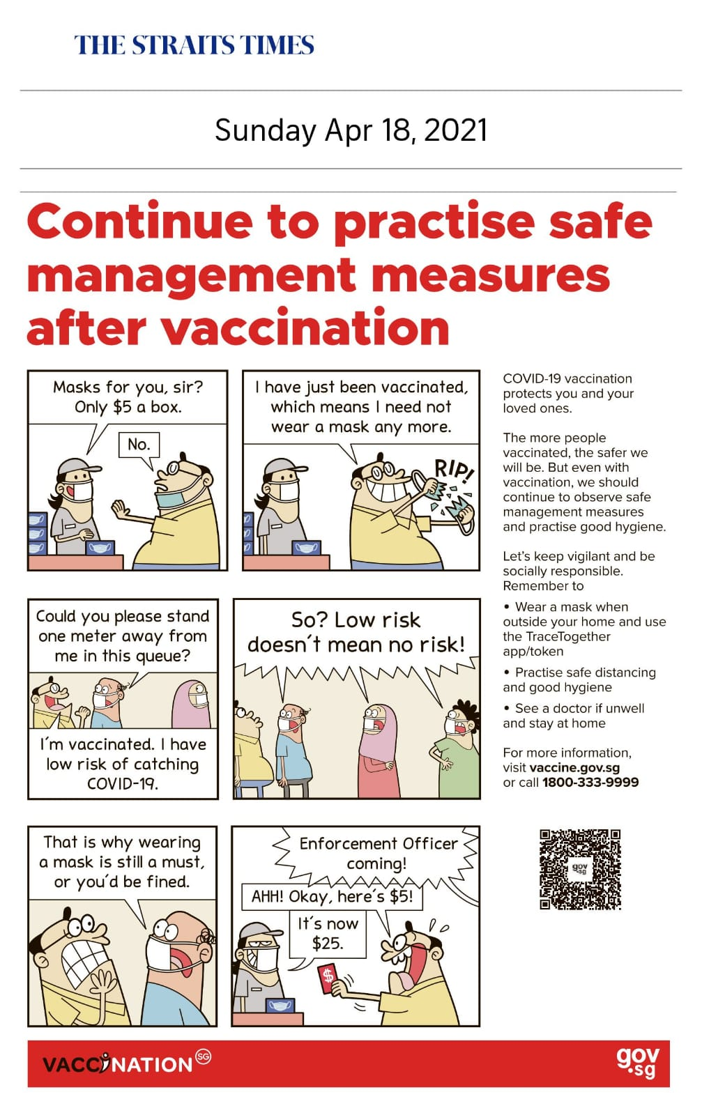 Continue to Practice Safe Management Measures After Vaccination - Published in The Straits Times April 18, 2021