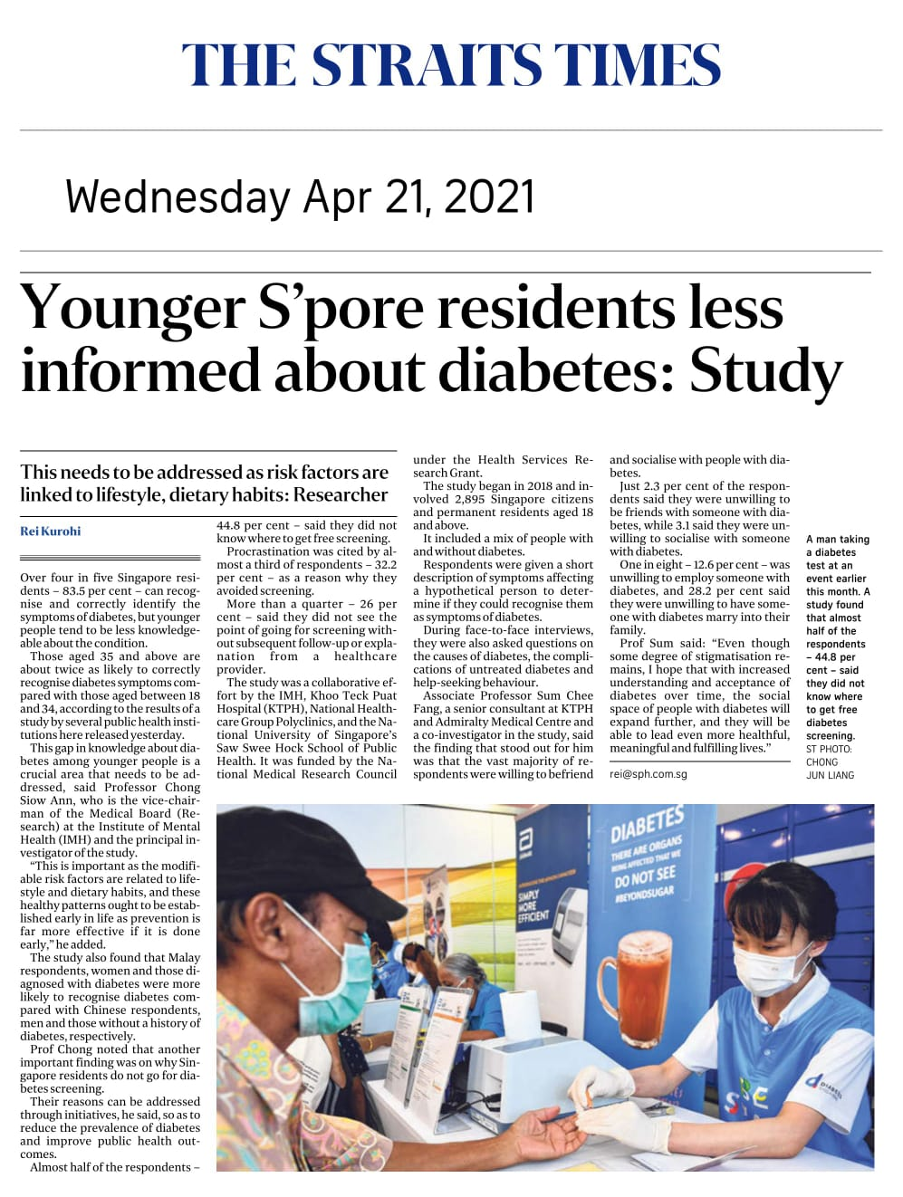 Younger S'pore residents less informed about diabetes: Study - Published in The Straits Times April 21, 2021