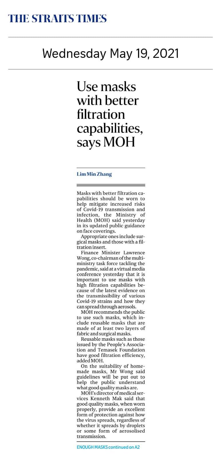 Use masks with better filtration capabilities, says MOH - Published in The Straits Times May 19, 2021