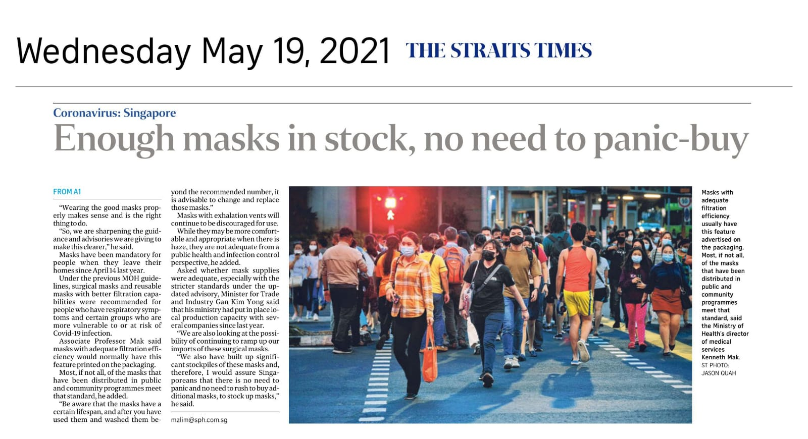 Enough masks in stock, no need to panic-buy - Published in The Straits Times May 19, 2021