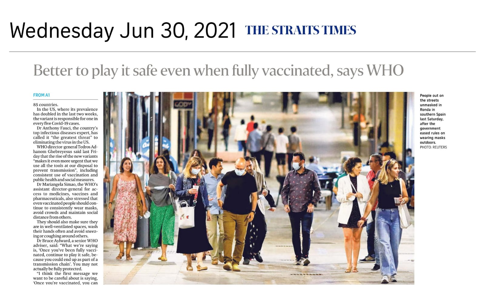 Better to Play It Safe Even When Fully Vaccinated, Says WHO - Published in The Straits Times June 30, 2021