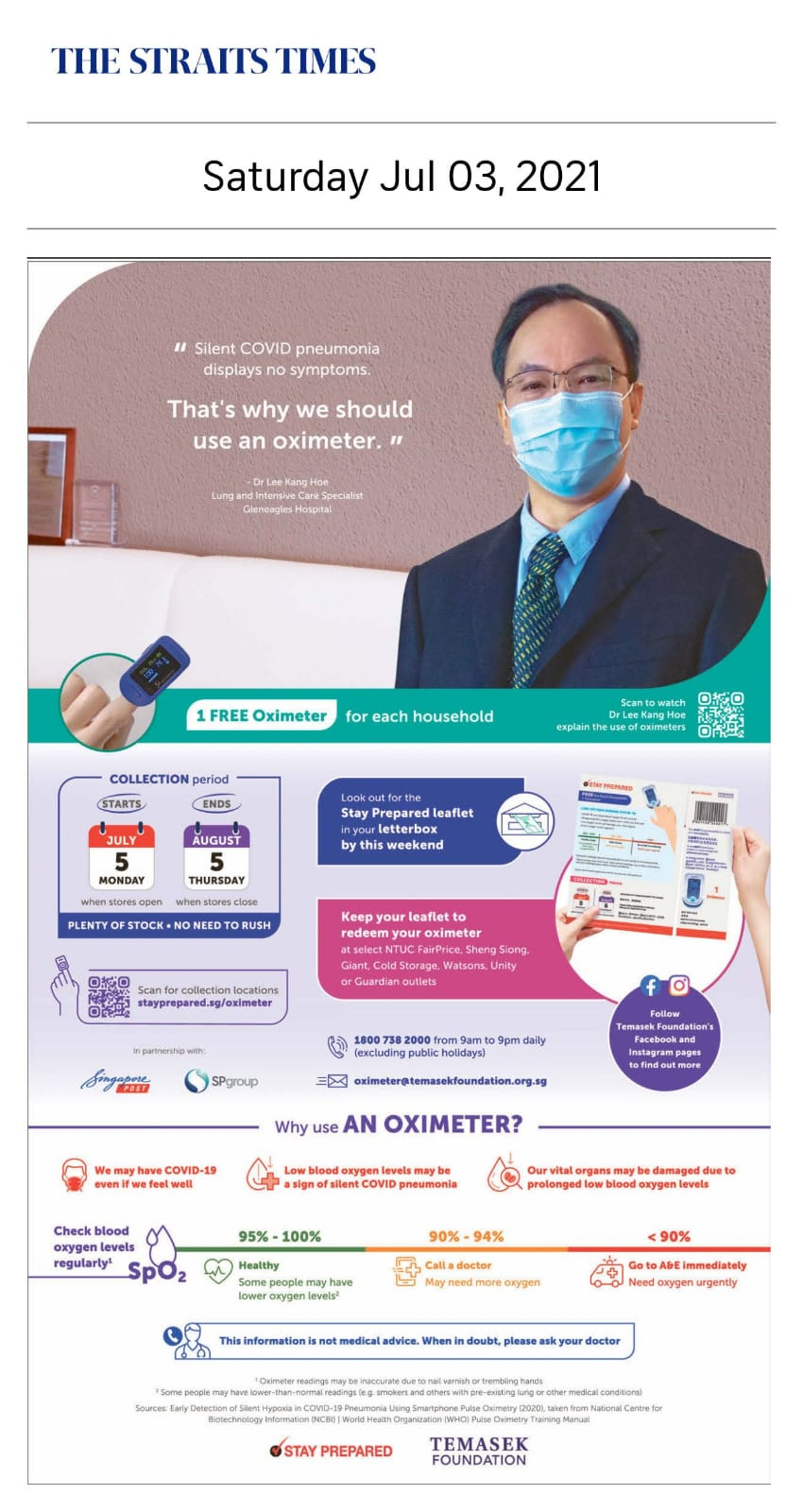 That's why we should use an oximeter - Published in The Straits Times July 03, 2021